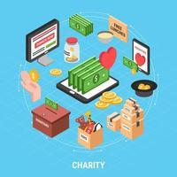 ilustração em vetor caridade isométrica design conceito