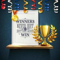 vencedores cita reslistic ilustração vetorial ilustração vetor