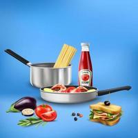 ilustração vetorial de composição de alimentos ferramentas de cozinha realistas vetor