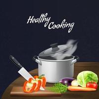 ilustração vetorial de vegetais ferramentas de cozinha vetor