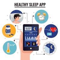ilustração em vetor conceito de design de aplicativo de sono saudável