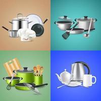 ilustração em vetor conceito de design de ferramentas de cozinha realista