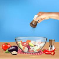 ilustração em vetor salada em tigela de vidro