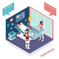 ilustração em vetor composição isométrica de tecnologias médicas