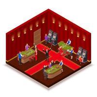 ilustração em vetor imagem isométrica sala de cassino