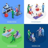 ilustração em vetor conceito isométrico fisioterapia reabilitação