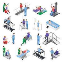 ilustração em vetor conjunto isométrico de reabilitação de fisioterapia