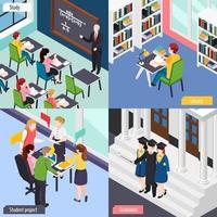 ilustração em vetor conceito isométrico de estudantes universitários