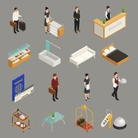 ilustração vetorial de ícones isométricos para funcionários de serviços de hotel vetor