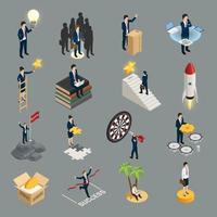 ilustração em vetor ícones isométricos empreendedor