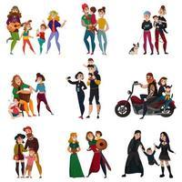 subculturas famílias desenho animado conjunto ilustração vetorial vetor