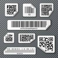 Conjunto de adesivos de códigos de barras qr ilustração vetorial vetor