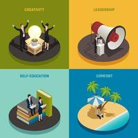 ilustração em vetor empreendedor design isométrico