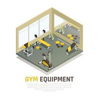 ilustração em vetor composição isométrica de equipamentos de exercício