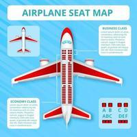 ilustração vetorial de mapa de assento de avião vetor