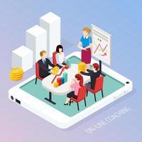 ilustração em vetor composição isométrica on-line coaching de negócios