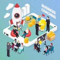 ilustração em vetor composição isométrica coaching de negócios