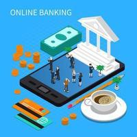 ilustração em vetor composição isométrica de banco online