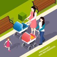 ilustração em vetor composição isométrica gravidez e maternidade