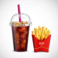 ilustração vetorial de batata frita e coca-cola vetor