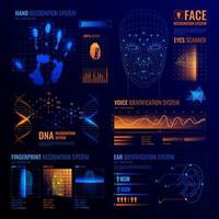 ilustração em vetor de fundo de interfaces de identificação futuristas