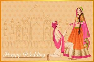 homem indiano propondo mulher em cerimônia de casamento na Índia vetor