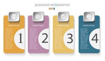 modelo de infográfico em modelo de 4 etapas para apresentação de gráfico de diagrama e gráfico vetor