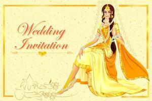 noiva indiana em haldi cerimônia de casamento na índia vetor