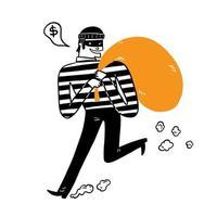 o ladrão carregando a bolsa grande vetor