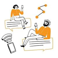 conceito de tecnologia de comunicação vetor
