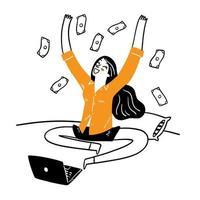 a ideia de administrar um negócio online de sucesso vetor