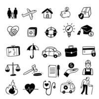 conjunto de ícones de conceito de seguro vetor