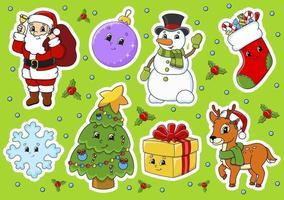 conjunto de adesivos de natal com personagens fofinhos de desenhos animados vetor