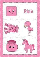 aprendendo cores flashcard para crianças - rosa vetor