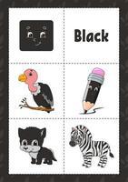 aprendendo cores flashcard para crianças - preto vetor