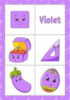 aprendendo cores flashcard para crianças violeta vetor