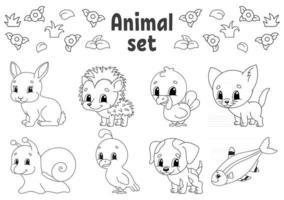 livro de colorir para crianças clipart de animais vetor