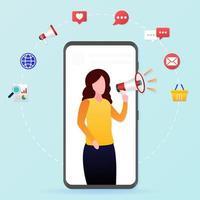 mulheres com campanha de marketing de megafone vetor