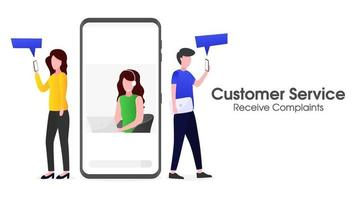 atendimento ao cliente está recebendo reclamações de clientes via smartphone vetor