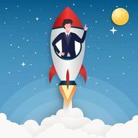 ilustração vetorial lançamento de foguete de conceito vetor