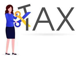 o funcionário está cortando impostos vetor