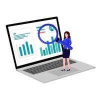 o trabalhador analisa os dados vetor
