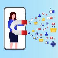 mulher com o conceito de marketing de mídia social vetor