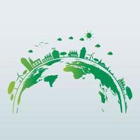 Ecologia, lâmpadas economizadoras de energia, cidades verdes, ajudam o mundo com ideias de conceito ecologicamente corretas vetor