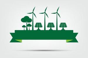 conceito de meio ambiente mundial e símbolo da terra com ecologia da cidade com ideias ecologicamente corretas vetor