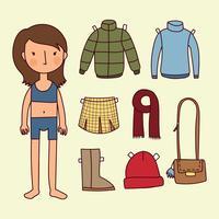 Coloque a garota algumas roupas de outono vetor