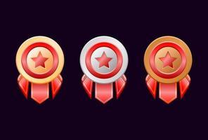 medalhas de distintivo de classificação de ouro prata bronze arredondado jogo interface do usuário com fita vermelha vetor