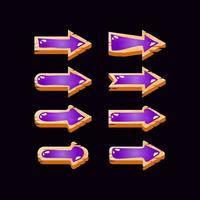 coleção de botões de seta de geléia de madeira da interface do usuário vetor