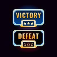interface de design de vitória e derrota de diamante de ouro da interface do usuário do jogo vetor