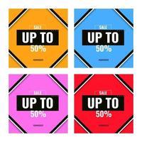 venda colorida de design de até 50 modelos de banner vetor